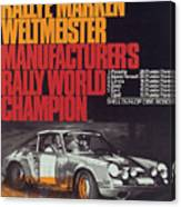 Porsche 1970 Rally World Champion Canvas Print