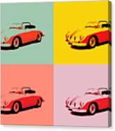 Porsche 356 Pop Art Panels Canvas Print