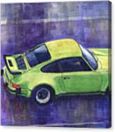 Porsche 911 Turbo Green Canvas Print