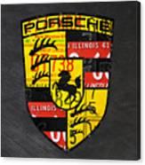 Porsche Sports Car Logo Recycled Vintage License Plate Car Tag Art Canvas Print