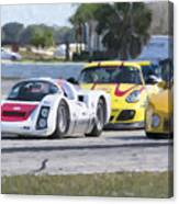 Porsches In The Corner At Sebring Raceway Canvas Print