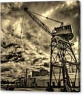 Port Crane At Sunset Canvas Print