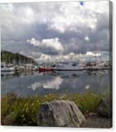 Port Of Anacortes Marina On A Cloudy Day Canvas Print