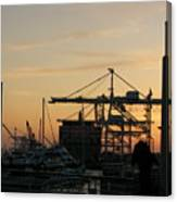 Port Of Oakland Sunset Canvas Print