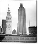 Port Of San Francisco Black And White- Art By Linda Woods Canvas Print
