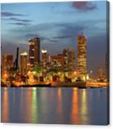 Port Of Singapore With City Skyline Canvas Print