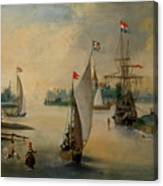 Port Scene With Sailing Ships Canvas Print