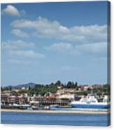 port with ferry boats Corfu Greece Canvas Print
