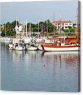 Port With Sailboat And Fishing Boat Canvas Print