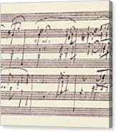 Portion Of The Manuscript Of Beethoven's Sonata In A, Opus 101 Canvas Print