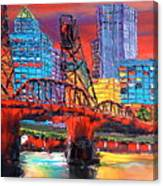 Portland City Lights Over The Hawthorne Bridge Canvas Print
