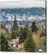 Portland City Skyline From Mount Tabor Canvas Print