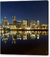 Portland City Skyline Reflection On Willamette River Canvas Print