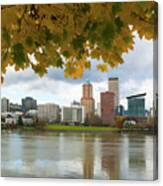 Portland City Skyline Under Fall Foliage Canvas Print