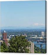 Portland Cityscape And Bridges On A Clear Blue Day Canvas Print