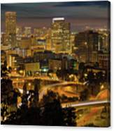 Portland Downtown Cityscape And Freeway At Night Canvas Print