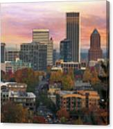 Portland Downtown Cityscape During Sunrise In Fall Canvas Print