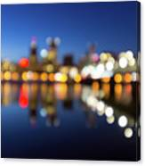 Portland Downtown Skyline Blue Hour Blurred Defocused Bokeh Canvas Print