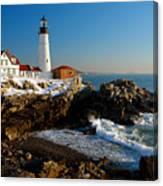 Portland Head Light - Lighthouse Seascape Landscape Rocky Coast Maine Canvas Print