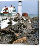 Portland Head Light In Winter Canvas Print
