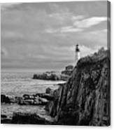 Portland Head Lighthouse - Cape Elizabeth Maine In Black And White Canvas Print