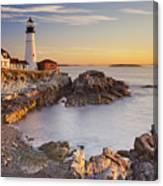 Portland Head Lighthouse In Maine Usa At Sunrise Canvas Print