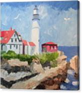Portland Headlight By The Sea Canvas Print