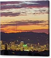 Portland Oregon City Skyline Sunset Panorama Canvas Print