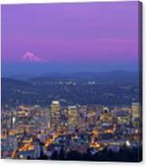 Portland Oregon Cityscape At Dusk Canvas Print