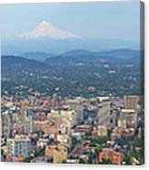 Portland Oregon Cityscape Daytime Panorama Canvas Print