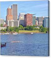Portland Oregon Skyline And Rowing Boats. Canvas Print