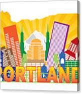 Portland Oregon Skyline In State Map Canvas Print