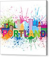 Portland Oregon Skyline Paint Splatter Text Illustration Canvas Print