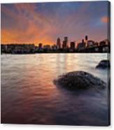 Portland Skyline Along Willamette River At Sunset Canvas Print