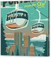 Portland Poster - Tram Retro Travel Canvas Print