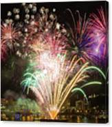 Portland Waterfront 4th Of July Fireworks Canvas Print