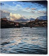 Porto And Vila Nova De Gaia River View Canvas Print