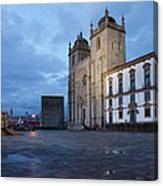 Porto Cathedral And Pillory Column In Portugal Canvas Print