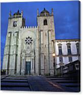 Porto Cathedral By Night In Portugal Canvas Print