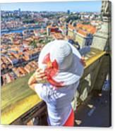 Porto Skyline Woman Canvas Print