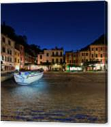 Portofino Bay By Night IIi- Piazzetta Di Portofino By Night Canvas Print