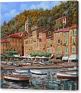 Portofino-la Piazzetta E Le Barche Canvas Print