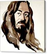 Watercolor Portrait Of A Man With Long Hair Canvas Print