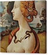Portrait De Femme Dit De Simonetta Vespucci Canvas Print
