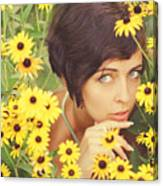 Portrait In Flowers Canvas Print