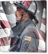 Portrait Of A Fire Fighter Canvas Print