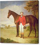 Portrait Of A Gentleman With His Horse Canvas Print