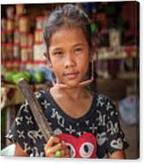 Portrait Of A Khmer Girl - Cambodia Canvas Print