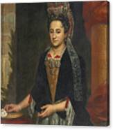 Portrait Of A Lady Half Length In A Mantua Gown And Lace Frelange Headdress Canvas Print