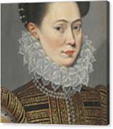 Portrait Of A Lady Head And Shoulders In A Lace Ruff Canvas Print